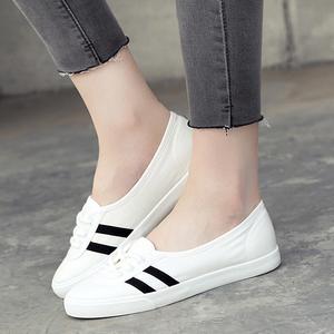 人本夏季低帮浅口帆布鞋休闲女鞋韩版系带运动学生小白鞋平底板鞋