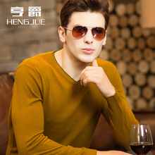 Cardigan men's V-neck solid Korean sweater men's chicken heart long sleeve thin thick bottomed sweater autumn and winter