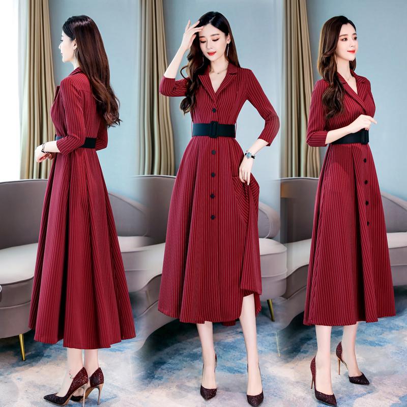 限100000张券秋季洋气欧货欧洲站条纹高腰西装领连衣裙女收腰显瘦条纹遮胯裙子