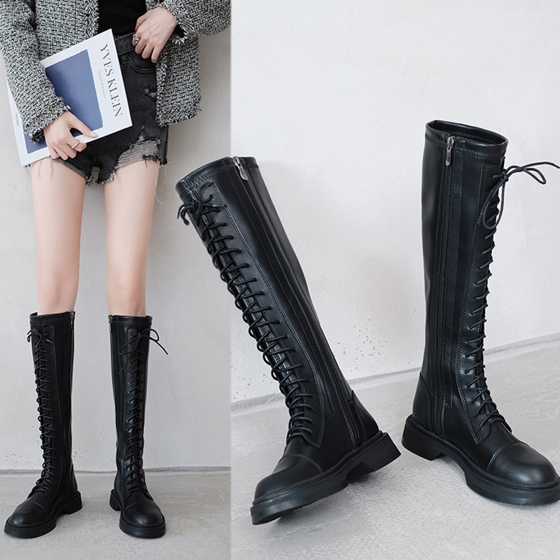 Chivalry boots womens 2020 popular autumn and winter new plush high boots locomotive show thin boots no more than knee long boots