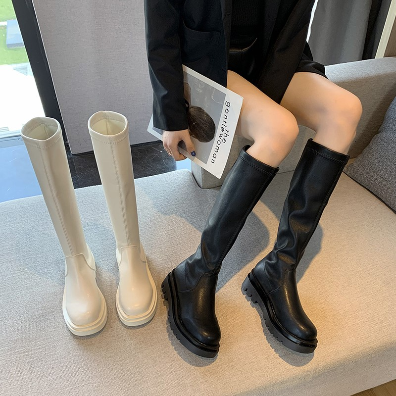 White high boots womens 2021 new spring and autumn elastic thin Martin boots Knight boots middle tube not over knee boots