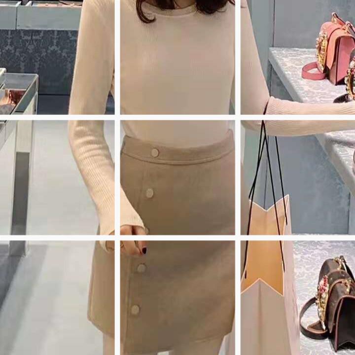 2018新款韩版针长袖圆领上衣+百搭高腰单排扣羊毛尼A字裤裙套装
