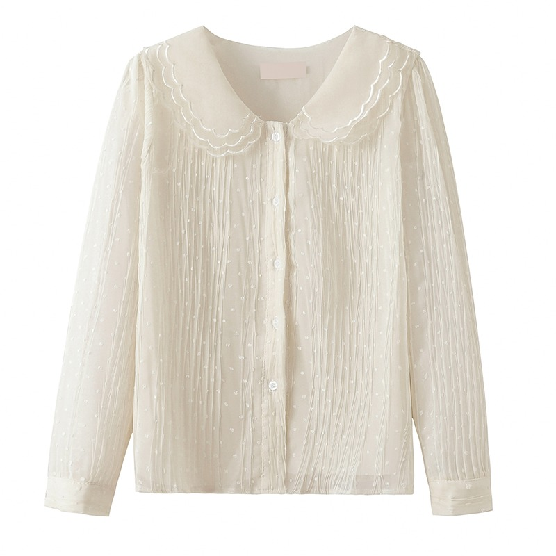2021 autumn new French commuter chiffon shirt long sleeve foreign style lace single row multi button shirt fairy top