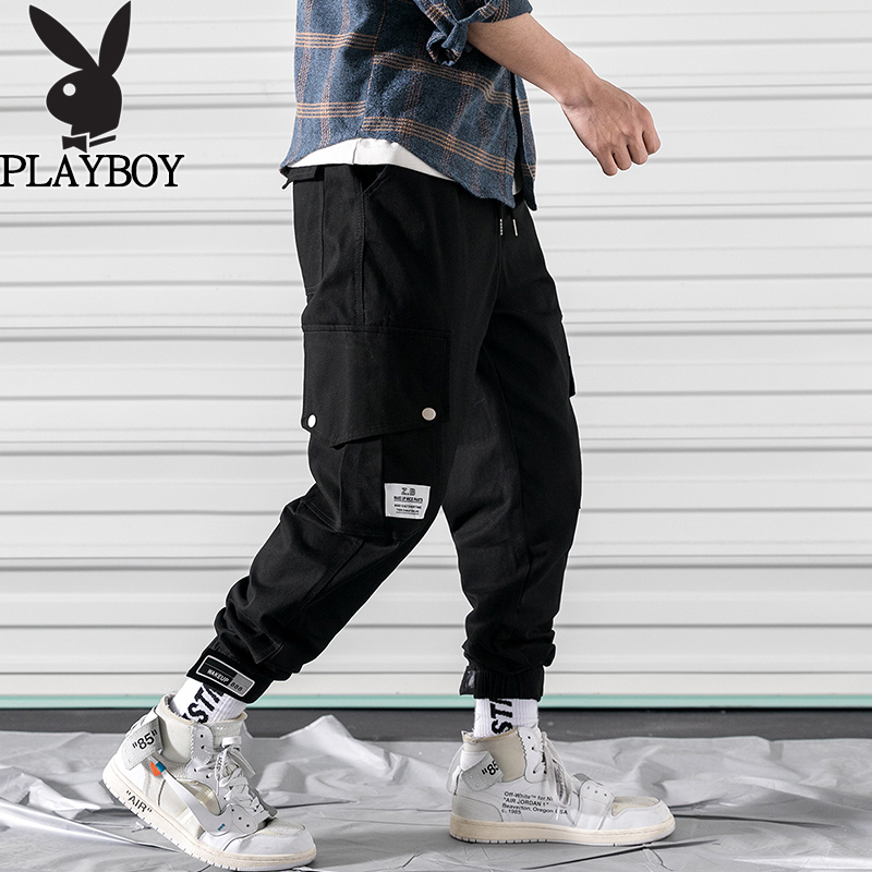 Playboy mens casual pants autumn Korean fashion brand overalls for men