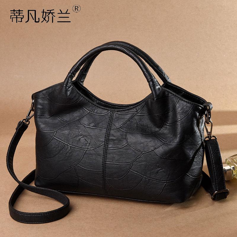 (用3元券)妈妈包手提包中年女包2019新款包包简约大容量单肩包斜挎包手拎包