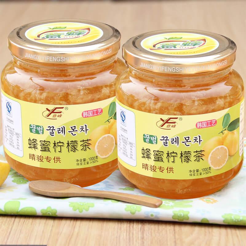 意峰蜂蜜檸檬茶1000gX2瓶裝 買就送鋼勺 韓國工藝 果味下午茶