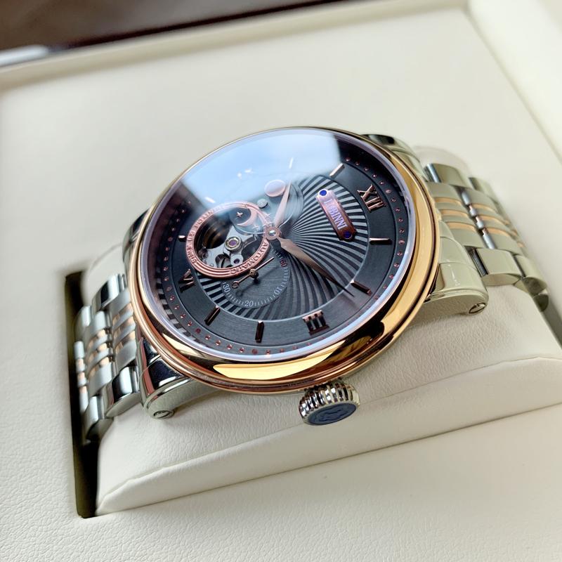 罗宾尼手表男新款男士全自动机械表潮流时尚真皮镂空月相男士手表