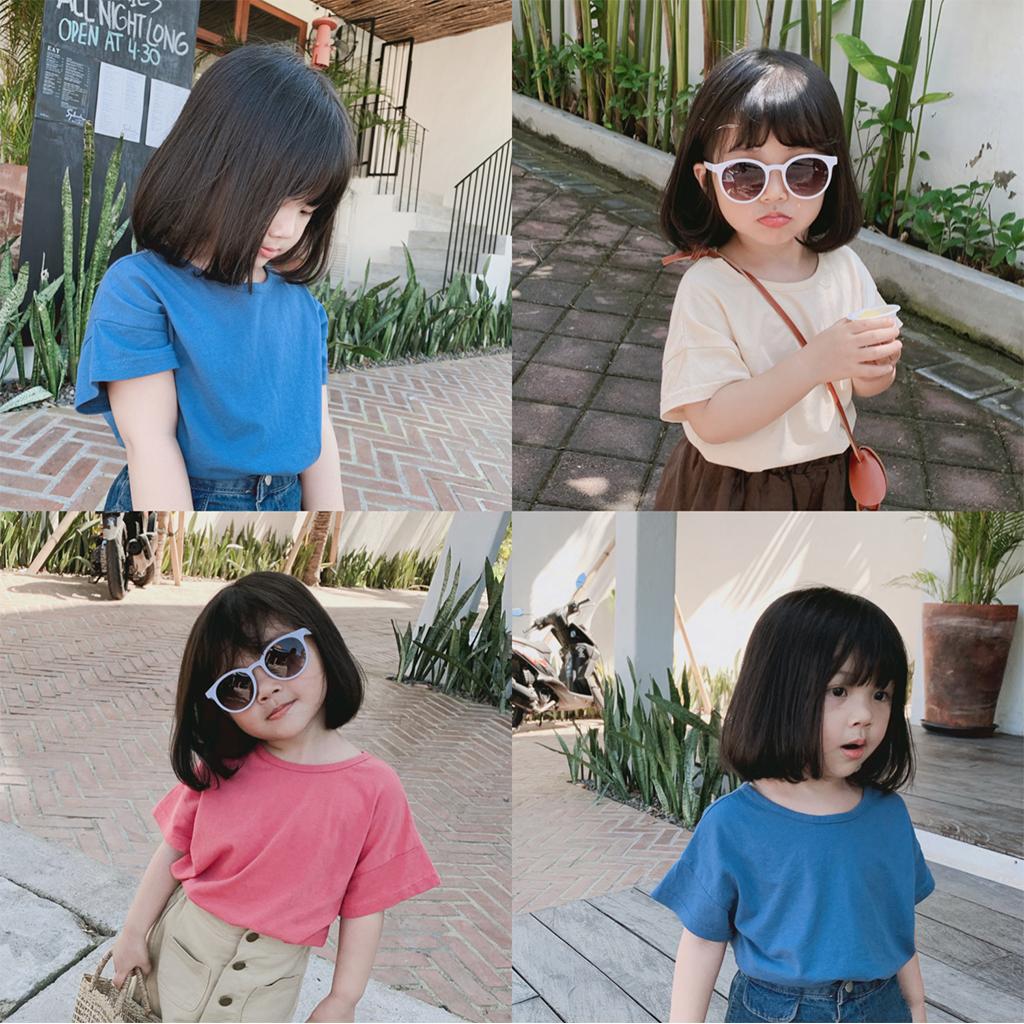 史豌豆  女童打底衫女宝宝百搭洋气韩版上衣儿童可爱圆弧摆短袖T