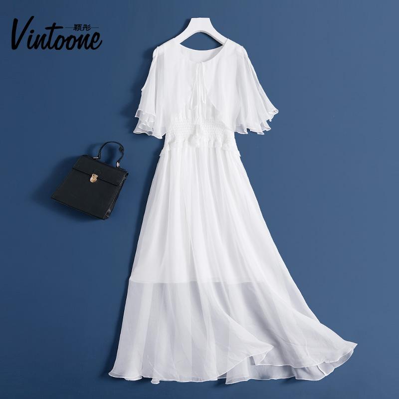 真丝连衣裙很仙的白色长裙飘逸收腰泰国度假沙滩裙桑蚕丝背心裙潮