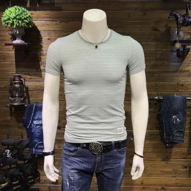 SA5M夏季男士新款圆领短袖T恤 潮流条纹半袖汗衫青年修身体恤衫男