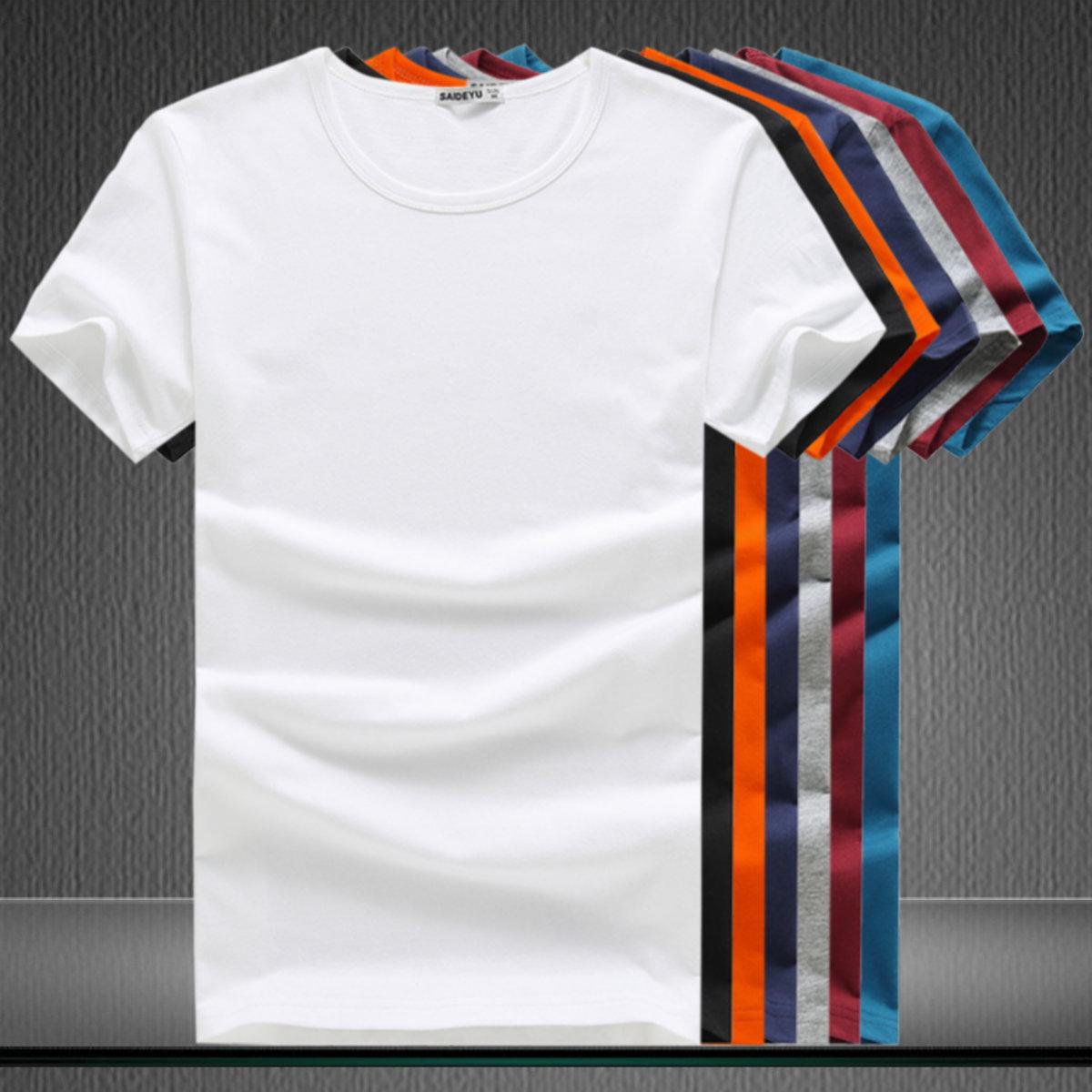 纯色短袖t恤男纯棉夏季圆领打底衫潮流男纯白半袖韩版修身上衣服