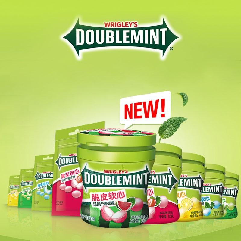 绿箭脆皮软心薄荷糖80g*4大瓶装 原味薄荷味柠檬西瓜袋装充气软糖
