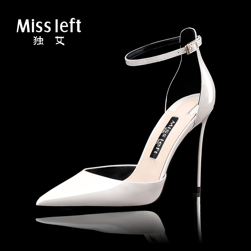 Single Girl Summer 2019 New Milky White 10cm Genuine Leather with Sandals and Fine-heeled Lacquer Leather for Women's High-heeled Shoes