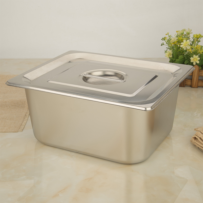 不锈钢长方形盆带盖份数盆食堂食物菜盆快餐车盆冰淇淋盒子餐盘