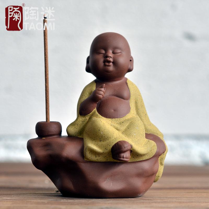 陶迷小和尚擺件幻空宜興 紫砂茶寵彌勒佛茶具茶道茶玩汝窯哥窯