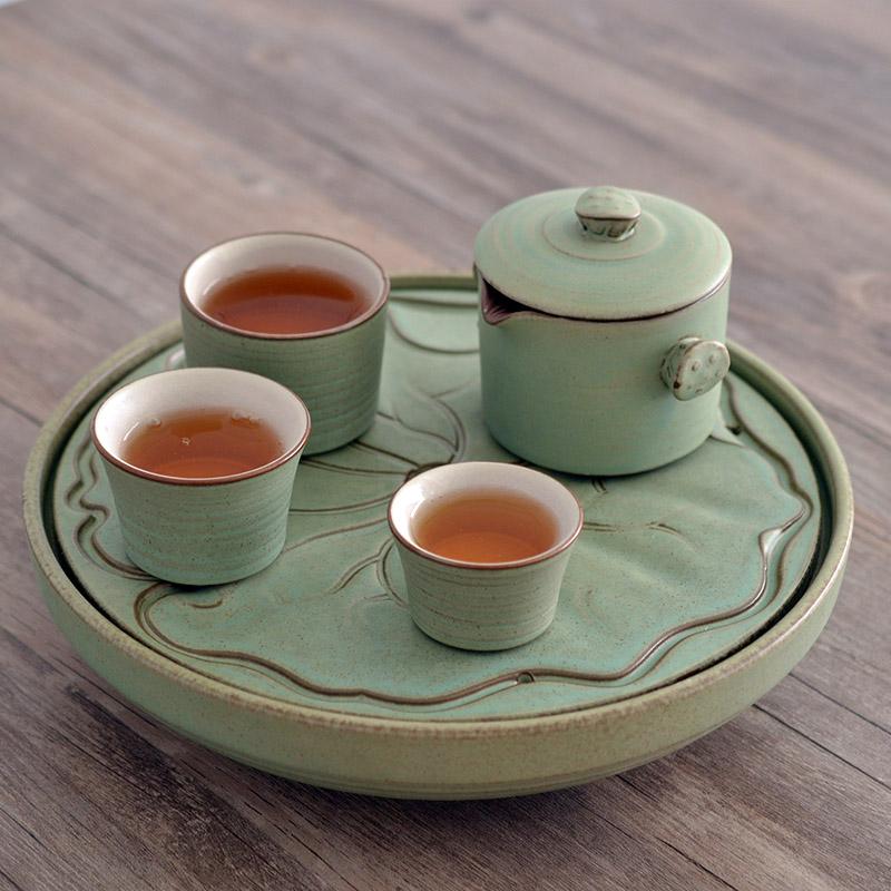 陶迷陶瓷茶盤托盤荷葉 圓形蓄水陶泥茶台功夫茶具排水茶海