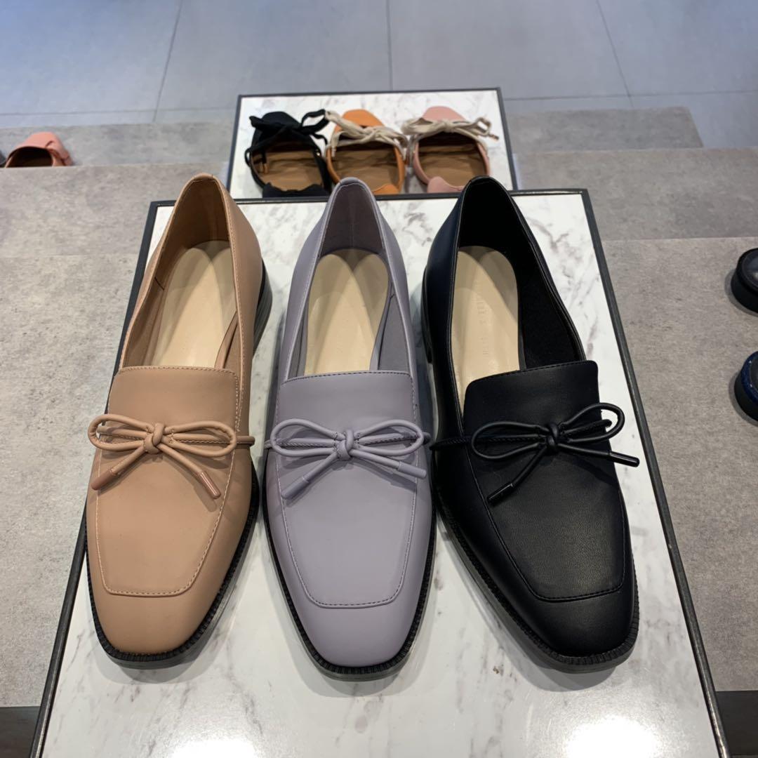 香港代购小ck女鞋CK1-70900120蝴蝶结饰女士方头平底乐福鞋单鞋子