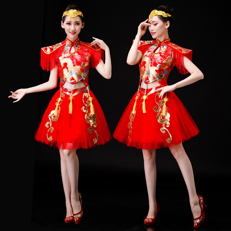 现代舞演出服新款亮片喜庆水鼓打鼓舞表演中国风开场舞蹈服装短裙