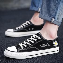 小雏菊帆布鞋男低帮学生韩版潮流百搭春季男鞋子潮鞋黑色情侣布鞋