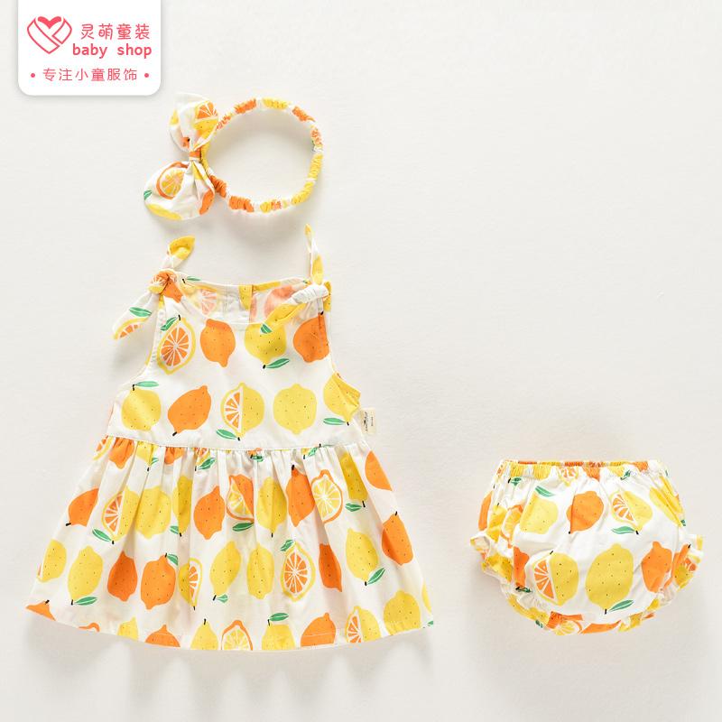 一岁女宝宝连衣裙纯棉套装夏装0-1岁2小孩婴儿女童裙子两件套夏季