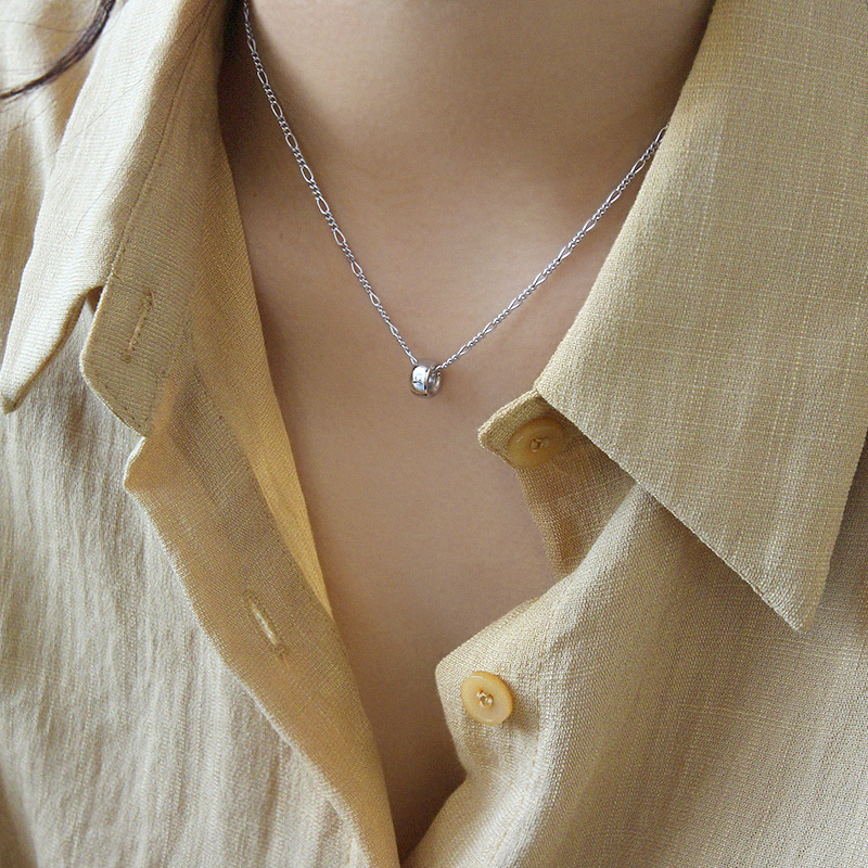 Simple geometry round bead transfer bead 2021 new necklace womens summer silver clavicle chain