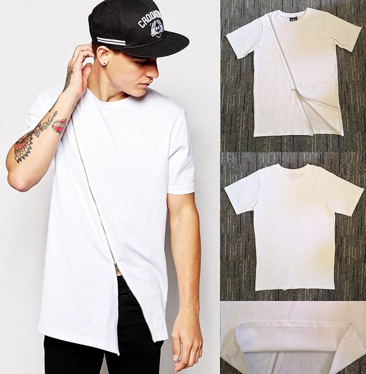 white longline t-shirt with asymetric hem zip拉链潮牌短袖T恤
