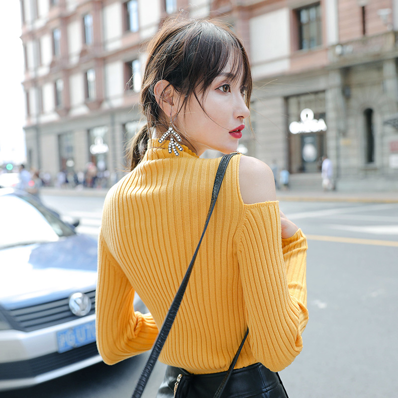 Mengyige off shoulder sweater womens autumn jacket slim slim sexy high collar long sleeve bottomed sweater