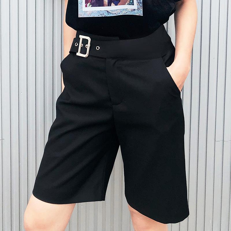 Black Capris womens loose new suit pants casual straight pants high waist thin wide leg shorts