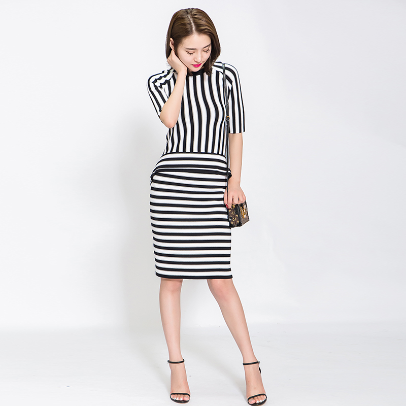 Mengyige 2020 autumn womens striped skirt middle skirt ol hip middle sleeve fashion two piece knitted slim fitting suit