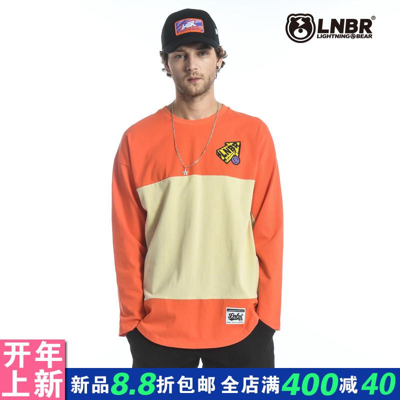 LNBR原创潮牌,秋冬新款纯棉长袖圆领橘色拼接T恤男女装大码宽松