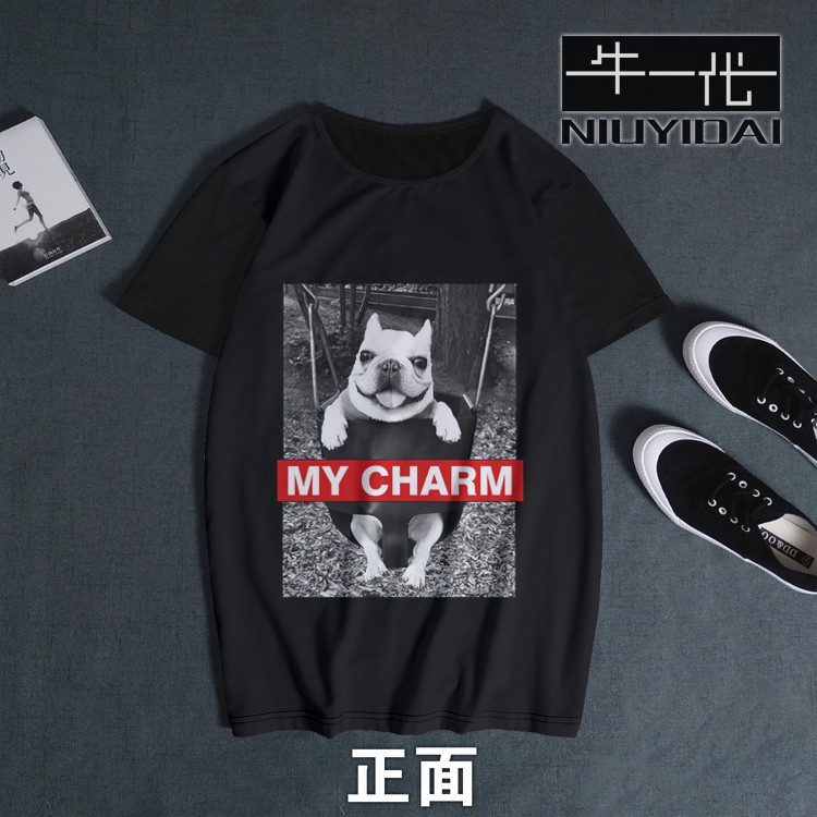 Bulldog with animal dog design t-shirt women and men have short sleeve fashion brand fashion European and American style clothes