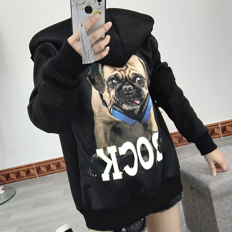 Fashion brand myna dog Pug black zipper hooded sweater with dog 3D animal print for men and women