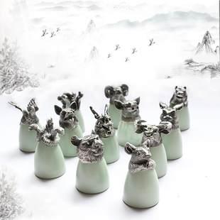 十二生肖银色陶瓷酒杯酒具茶杯茶具小号12兽首汝窑白酒杯子礼盒装