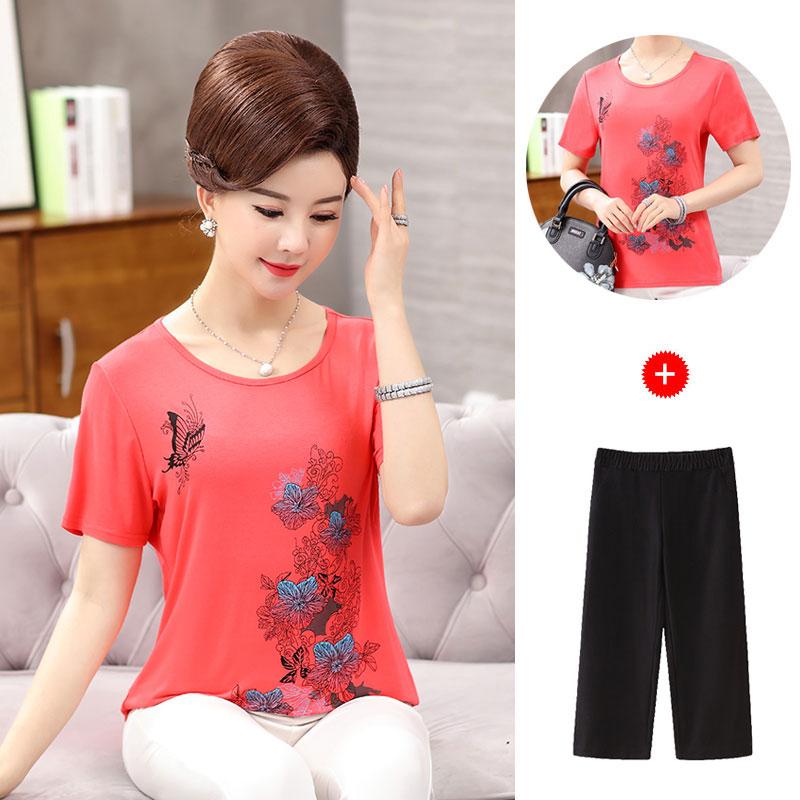 中年女套装2020夏季新款两件套条纹T恤上衣裤子韩版妈妈装套装