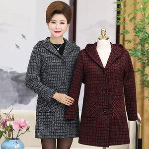中老年女装春装新款上衣40-50岁中年妈妈装春秋中长款针织外套