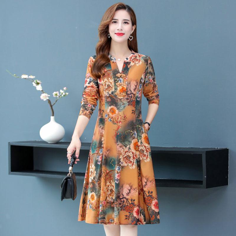 中年妈妈装秋装新品复古盘扣裙子中老年女装春秋长袖气质连衣裙