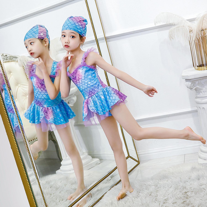 美人鱼2021年新款儿童小朋友韩国可爱游泳衣女童女孩泳装中大童夏