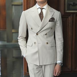 韩版休闲商务精致绅士复古双排扣经典大领西服男士百搭奢华西装潮