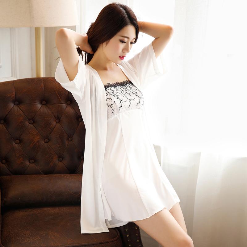 韩版丝绸睡衣女夏季性感吊带睡裙睡袍两件套装冰丝家居服白色薄款