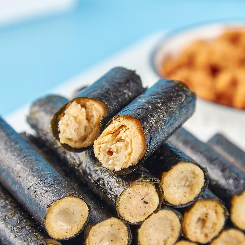 海苔肉松卷夹心脆即食儿童孕妇紫菜肉松蛋卷休闲海味零食小吃罐装