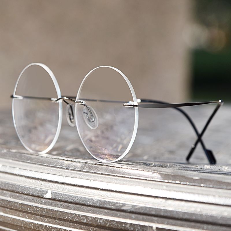 无框眼镜男超轻圆形眼镜框文艺复古近视防蓝光眼镜架圆框潮女镜架