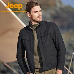 Jeep吉普防风保暖机能风夹克男加绒抗起球外套立领透气弹力棒球服