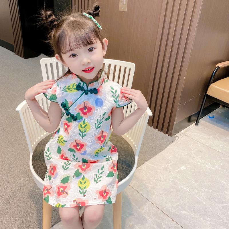 女童旗袍夏季连衣裙2021新款儿童古装汉服中国风宝宝洋气夏装裙子