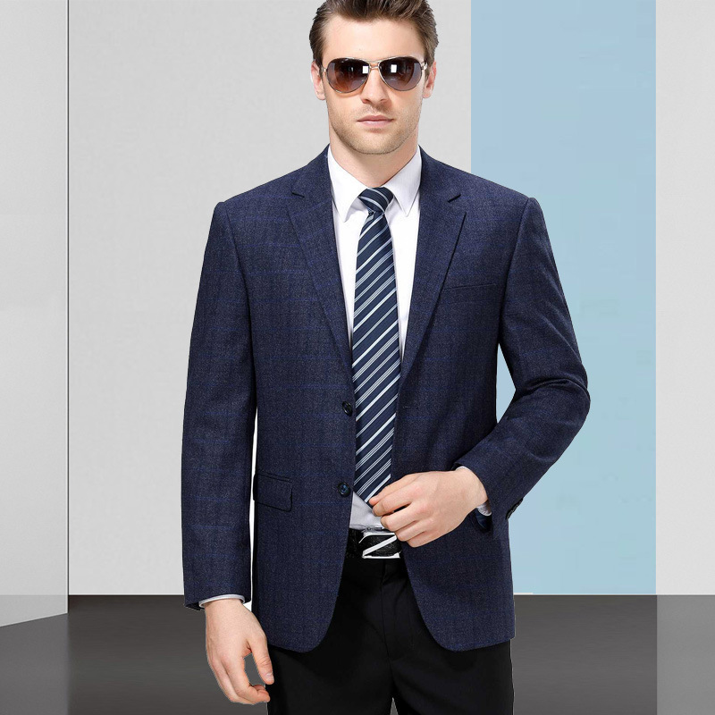 Suit mens middle-aged suit casual Western wool dad spring and autumn Plaid year single flat Lapel long sleeve thick