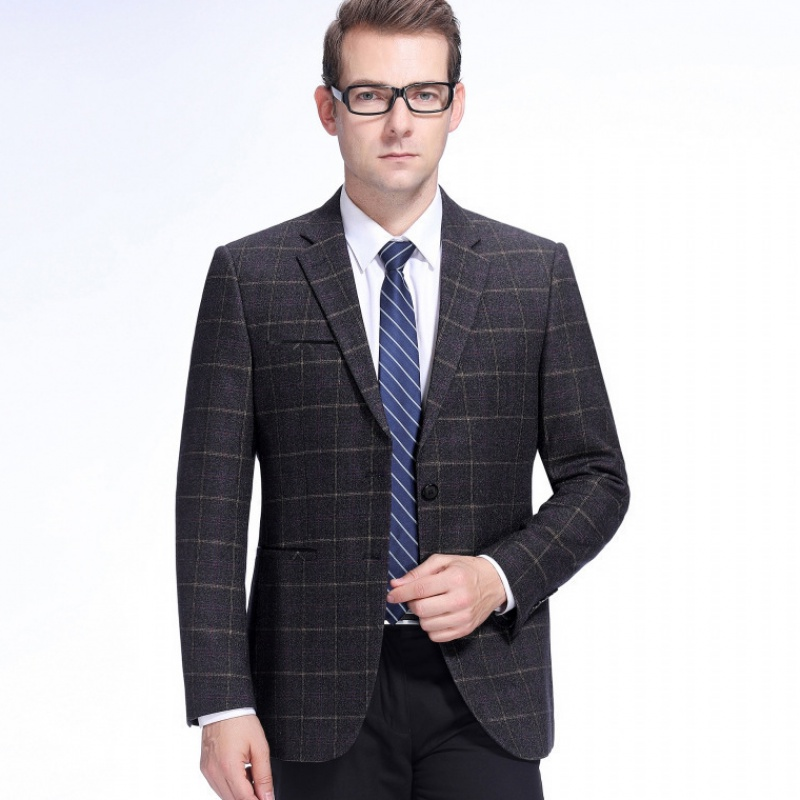 Autumn and winter 2020 mens suit fashion business middle-aged wool single suit lattice trendy mens coat
