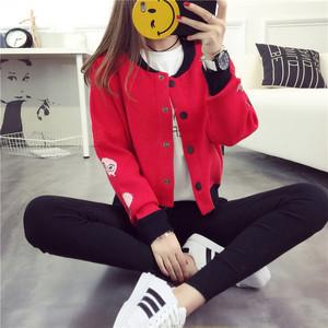 秋季宽松学院风刺绣针织衫女开衫韩版学生棒球服毛衣外套秋装