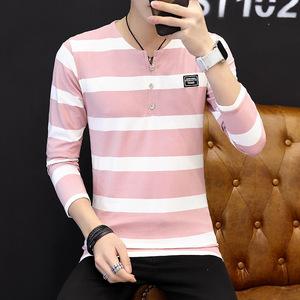 2017秋新款男式T恤棉质男装韩版条纹V领修身男士长袖T1037-2202#