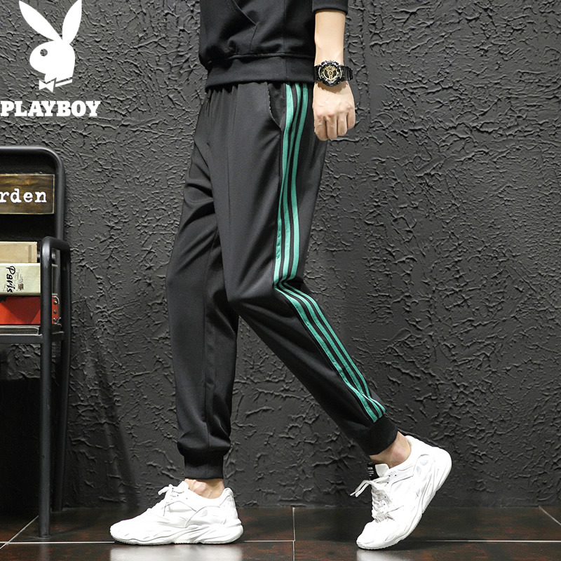 Playboy casual pants men's spring trend brand legging Korean Trend loose pants striped tooling 9-point pants