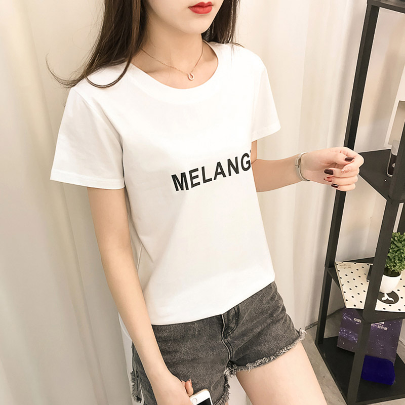 Summer new Korean fashion cotton round neck printing letter short sleeve T-shirt CEC womens net red hot top fashion ins