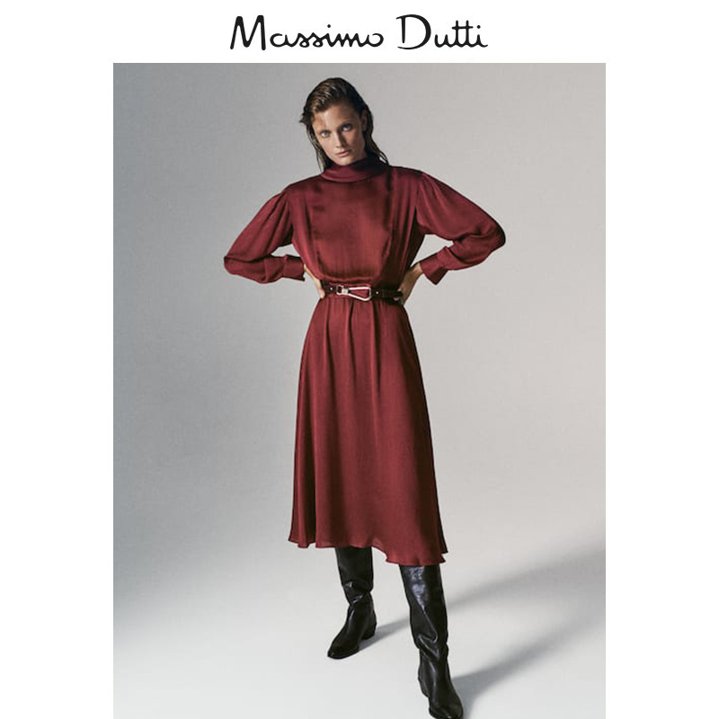 Massimo Dutti women's wear 2020 autumn and winter new long elegant simple style ladies dress 06690625122